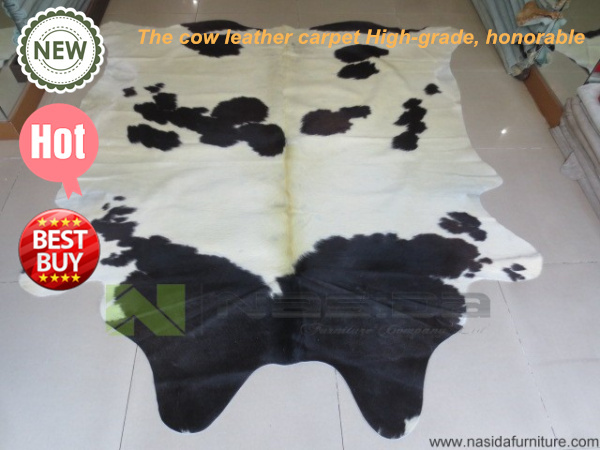 CL119 Shaggy Rugs Pure Natural Cowhide Rug Black And White Cow Carpet IN  Bedroom Rugs And