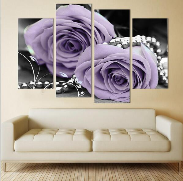 Handpainted Modern Purple Rose Flower Canvas Art Decoration Of Oil Painting Wall For Living Room
