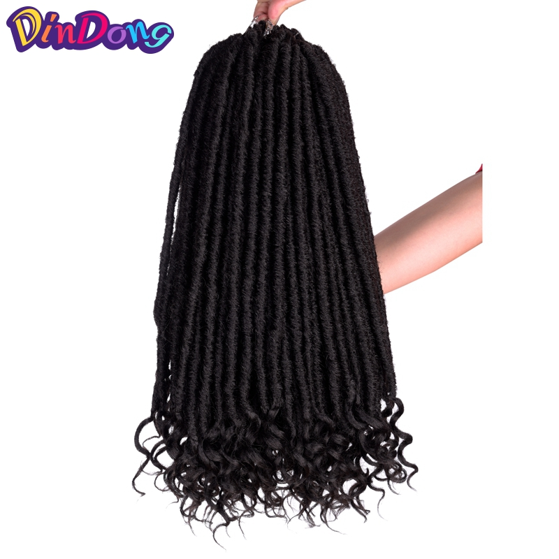 DinDong Faux Locks Curly Ends Pure Crochet Braids Locs 18 inch 24 Roots Kanekalon Synthetic Dreadlocks Hair Extensions For Women