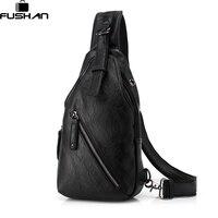 FUSHAN Men Messenger Bags Leather Chest Pack Casual Men S Travel Shoulder Bag Bag Crossbody Sacoche