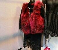 Free shipping,winter color Raccoon dog fur women sleeveless coat