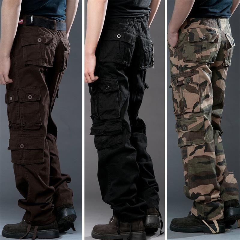2018 Brand Mens fashion Military Cargo Pants Multi-pockets Baggy Men Pants Casual Trouse ...