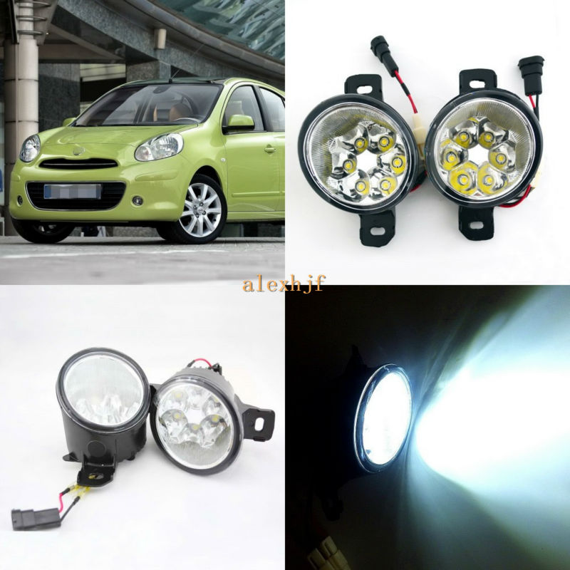 July King 18W 6LEDs H11 LED Fog Lamp Assembly Case for Nissan Micra 2002~2013,  6500K 1260LM LED Daytime Running Lights july king 18w 6leds h11 led fog lamp assembly case for nissan versa 2012 on 6500k 1260lm led daytime running lights