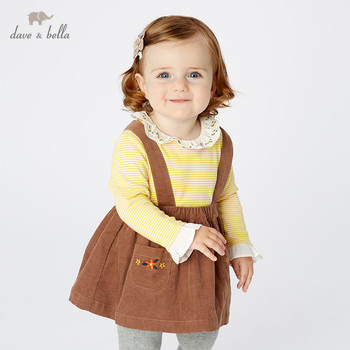 DBM11011-2 dave bella autumn infant baby girls floral strap dress lolita party suspenders dress toddler children clothes image