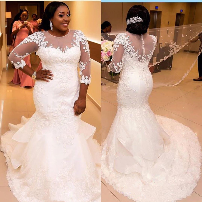 Illusion Neck Lace Mermaid Wedding Dresses Lace Back Sexy Wedding Dresses 2019 Plus Size Bride Gown Robe De Mariee
