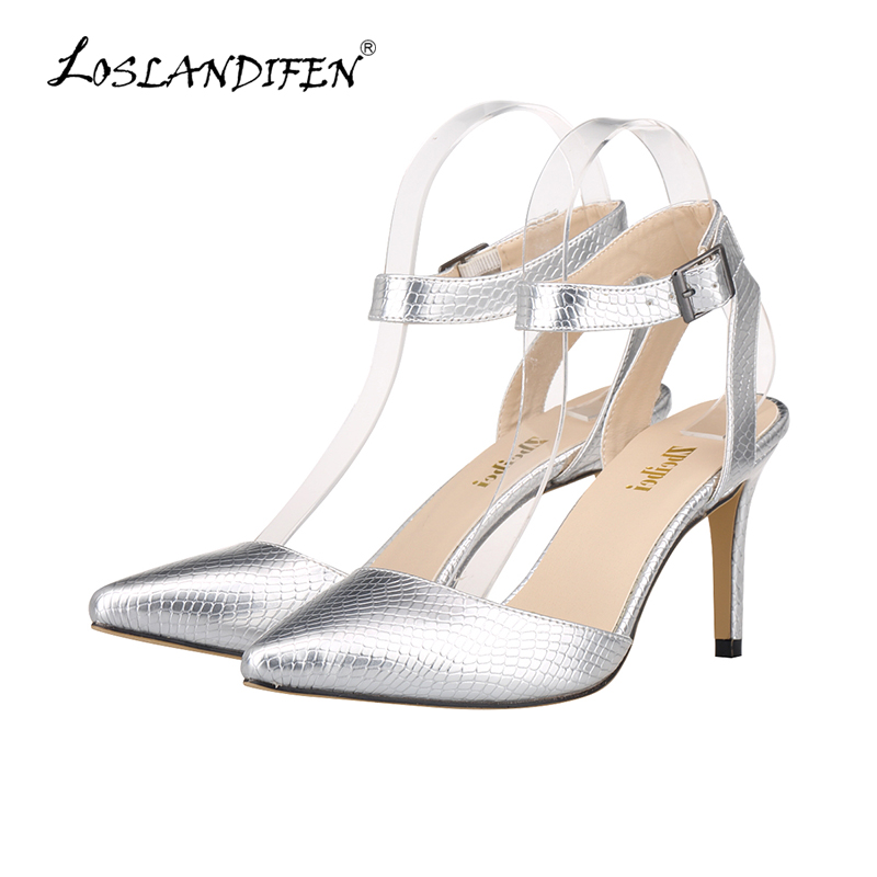 LOSLANDIFEN Summer Woman Pumps Casual PU Leather Fashion Open Toe High Heels Ladies Crocodile Pumps Women Shoes 952-4XEY women pumps flock high heels shoes woman fashion 2017 summer leather casual shoes ladies pointed toe buckle strap high quality