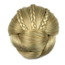 Soowee Синтетические Волосы Кусок Плетеный Chignon Клип В Волос Bun Высокая Температура Волокна Пончик Бигуди