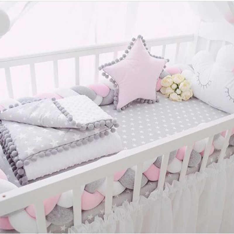 200 cm אורך תינוק מיטת פגוש תינוק כרית כרית צבעוני אריגת קטיפה תינוק עריסה מגן תינוקות בייבי חדר קישוט
