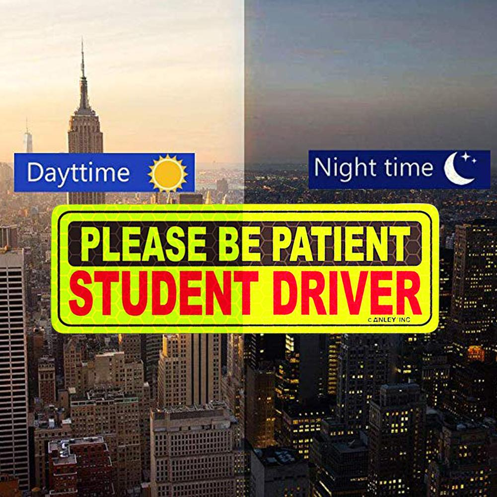 Reflective Sticker Warning Stick Reflective Student Driver Magnetic Car Signs Yellow Large Bold Text Vehicle Safty Bumper Magnet