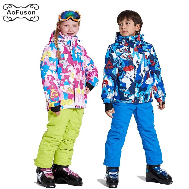 цена на Snowboard Ski Kids Suit Jacket&Pants Warm Breathable Waterproof Winter Snow Skiing Boys Girls Coats Set Hooded Children's Wear