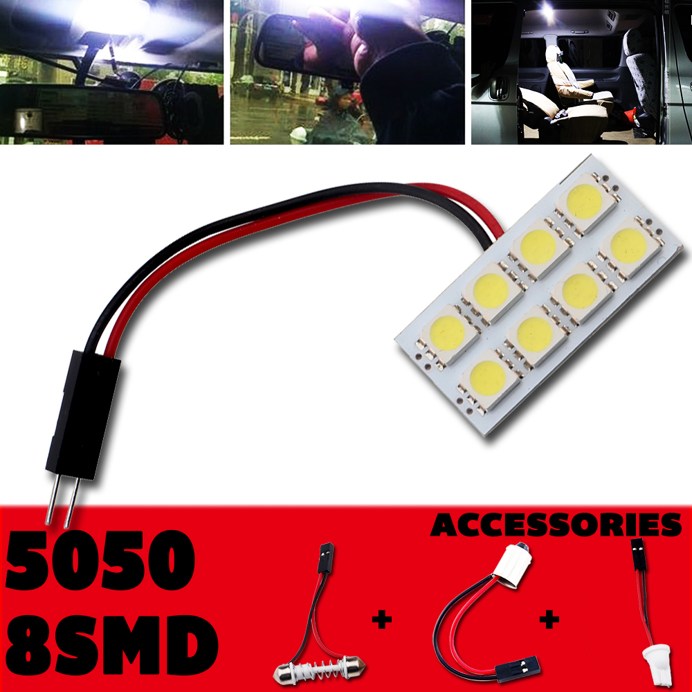 8pcs/lot High Quality! ! White T10 8 SMD 5050 LED Light Car Bulbs Auto Panel Light with Festoon T10 BA9S Adapters Dome Bulb Lamp