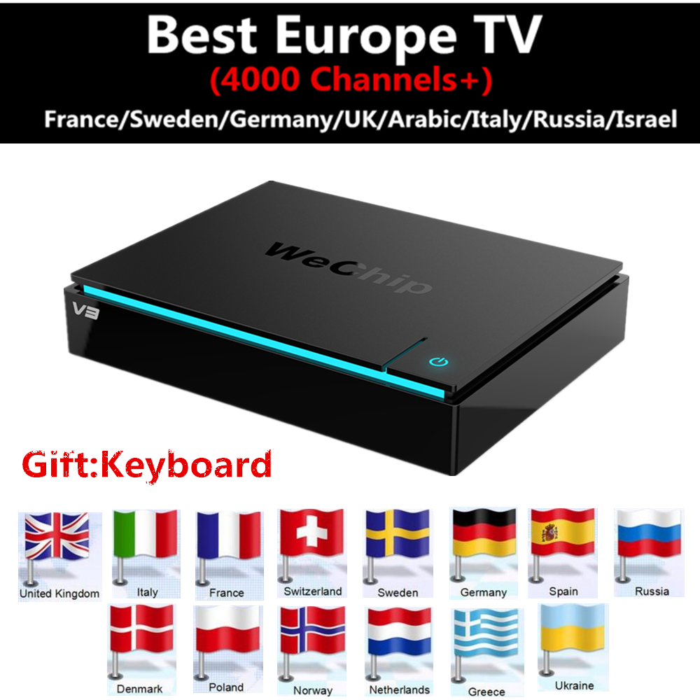 Best Europe iptv Box Wechip V3 Android TV Box Germany IPTV French Itlay Portugal UK Arabic Indian HOT CLUB Over 4000 IPTV Box