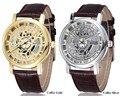 Venta caliente Marca Reyes Hollow Esqueleto Reloj de Cuero Hombres Mujeres Reloj de Cuarzo Reloj de pulsera Relogios Feminino