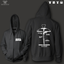 Free shipping the walking dead choose weapon men unisex zip up hoodie 10.3oz weight organic fleece cotton quality sweatershirt