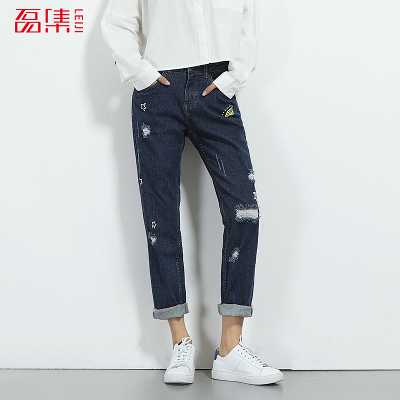 2017 LEIJIJEANS New Arrival Boyfriend Pants Women Elastic Waist Jeans Pattern Loose Style Fashion Full Length Jeans Embroidery 2017 leijijeans new arrival summer fashion boyfriend jeans loose style mid waist l 6xl full length jeans women straight pants