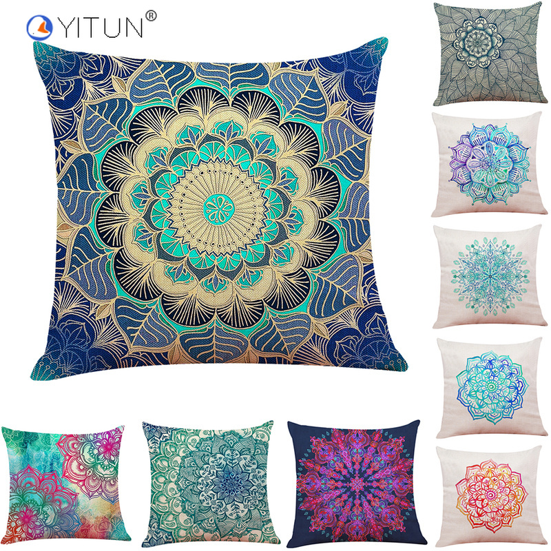 YITUN 45*45cm Pillow Case Floral Coloful Throw Pillowcases Square Printing Pillow Sham Burlap Pillow Case For Living Room
