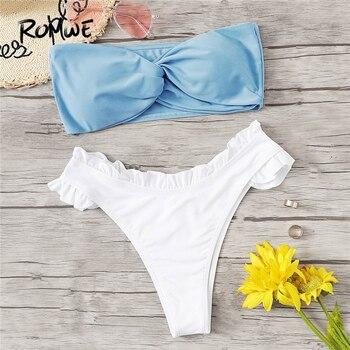 Romwe спортивный сине-белый двухцветный наматывающееся бандо Топ с оборкой отделка Лето бикини пляжный сексуальный беспроводной женский куп...