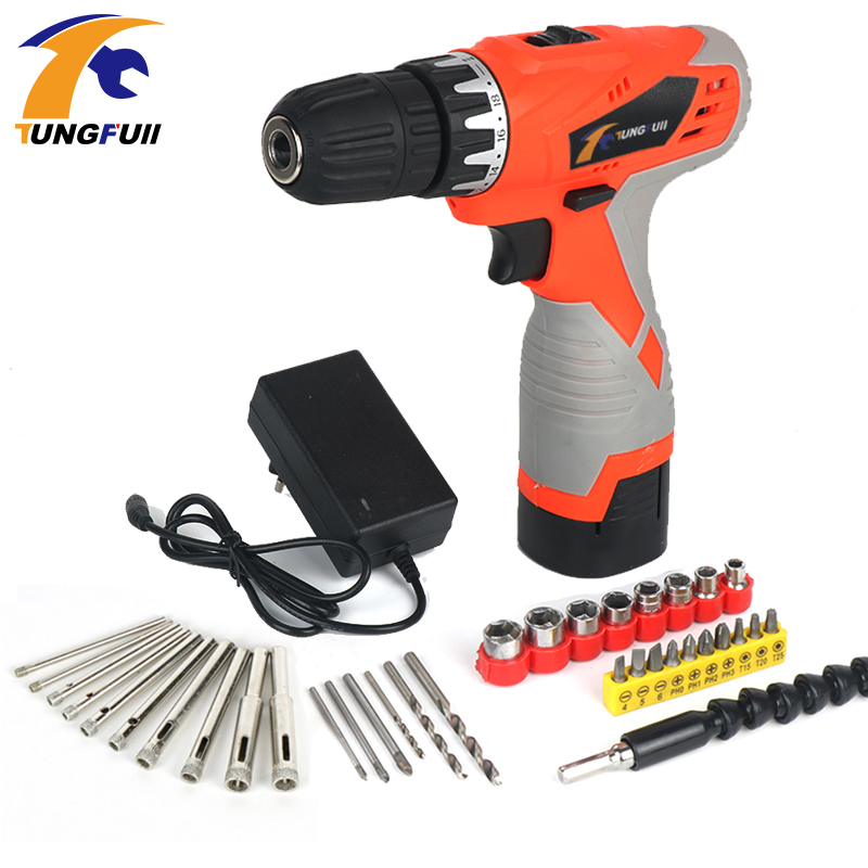 Tungfull 18V Lithium Battery Rechargeable Hand Drill Electric Drill Multi Functional Household Electric Screwdriver Power Tool