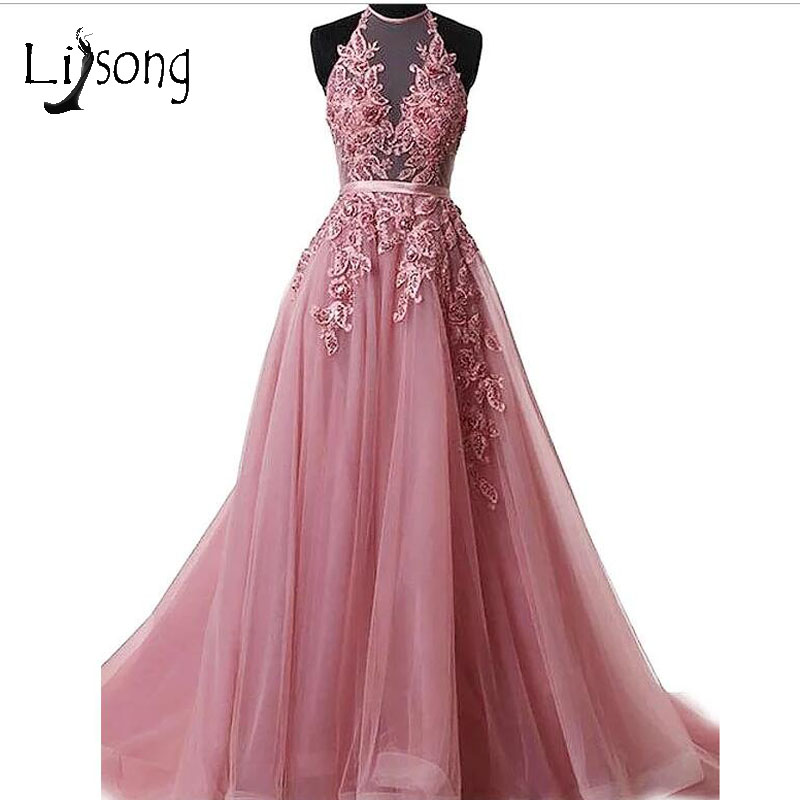 Pretty Dusty Pink Pearls Long   Evening     Dresses   2018 Appliques Flower Tulle   Evening   Gowns Abiye Halter off Shoulder Robe De Soiree