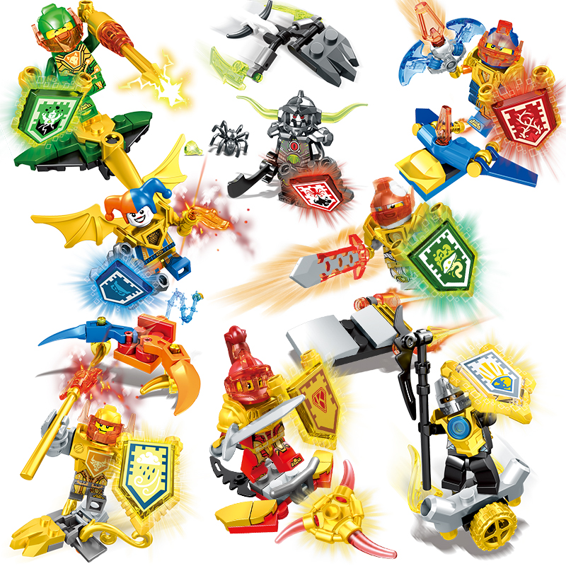 Building Block Nexo Knight Figure Clay Moorington Aaron Fox Compatible With Legoingly Movie Toys For Children