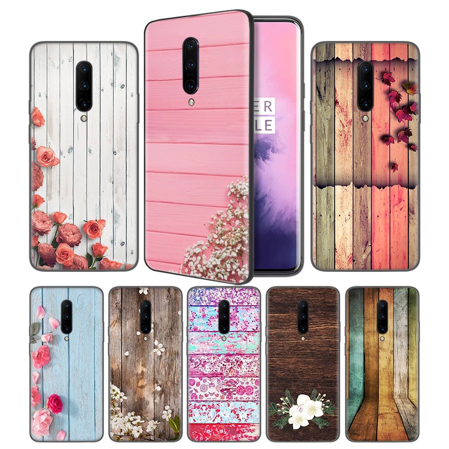 colorful wood and flowers Soft Black Silicone Case Cover for font b OnePlus b font 6
