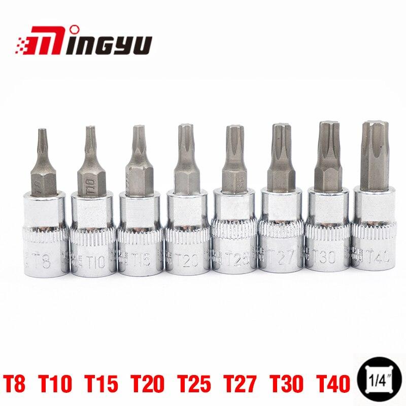 8 pcs 1/4 Bit Socket T8 T10 T15 T20 T25 T27 T30 T40 Hex Torx Tournevis Bits Outils Ensemble kit 38mm