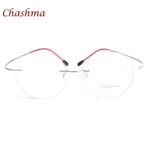 Image 4 - チャシュマ新ブランドチタンリムレス眼鏡フレーム超軽量近視ラウンドヴィンテージ眼鏡光学フレーム男性と女性