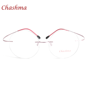 Image 4 - Chashma New Brand Titanium Rimless Eyeglasses Frames Ultra Light Myopia Round Vintage Glasses Optical Frame for Male and Women