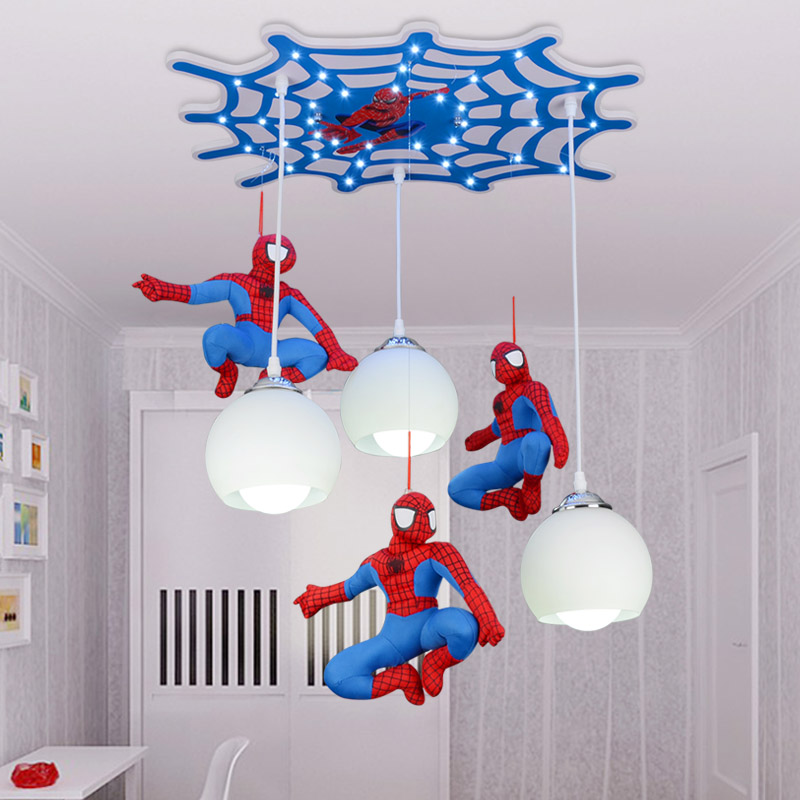Cool Cartoon Character Spiderman Ceiling Children Room Boy Bedroom Lighting Lamp Led Creative Remote Control Switch