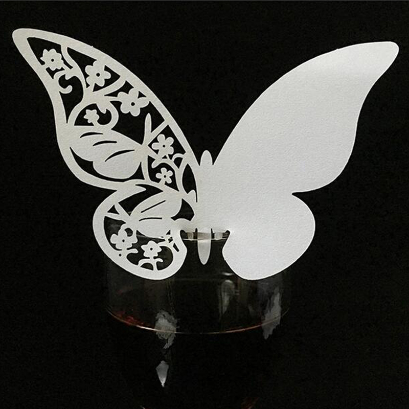 10 Color 50pcs Laser Cut Hollow Butterfly Place Cards Wedding Escort Wine Glass Cup Table Name Cards Wedding Party Supplies (5)