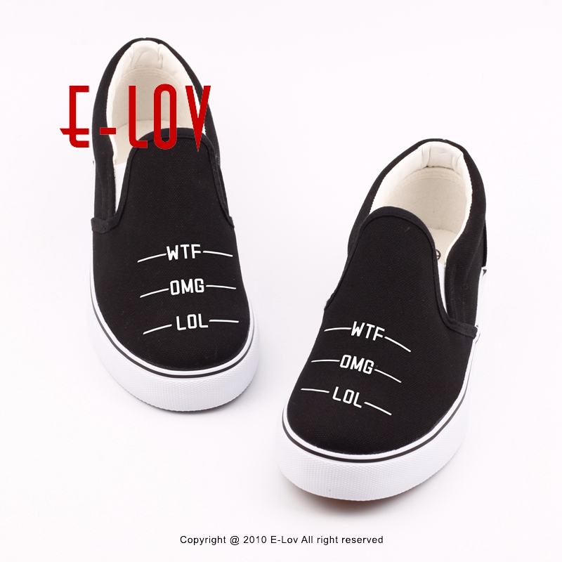 E-LOV Funny Design Words Casual Loafers Women Slip On Graphics Geometry Printed Black Canvas Shoes For Valentine
