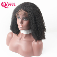 Mongolian Afro Kinky Curly Wigs Full Lace Human Hair Wigs With Baby Hair Bleached Knots Dreaming Queen Remy Hair Free Shipping