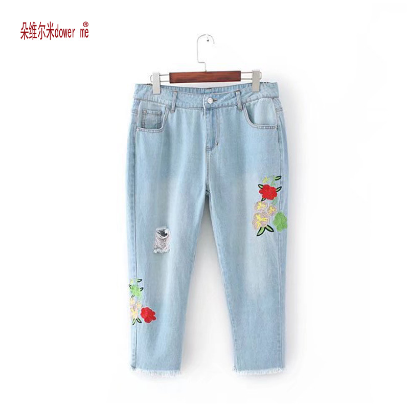 dower me Flower embroidery jeans female Vintage casual pants autumn winter Pockets straight jeans women bottom Plus size flower embroidery jeans female light blue casual pants capris 2017 spring autumn pockets straight jeans women bottom