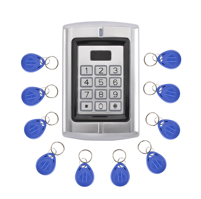 10pcs Fobkey Free +RFID Access Controller With Metal Design Single Door EM ID Card 125KHZ Waterproof Good Performance free shipping ko w300 id card 125khz metal card access controller