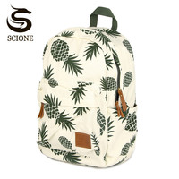 Women Printing Backpack Harajuku Fruit Canvas Backpacks For Teenage Girls School Bag Pineapple Backpack Travel Mochila