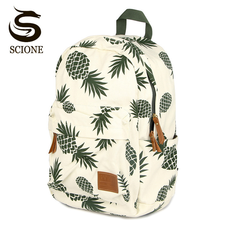 Women Fruit Printing Backpack Canvas Backpacks for Teenage Girls School Bag Green Pineapple Backpack Big Travel mochila escolar