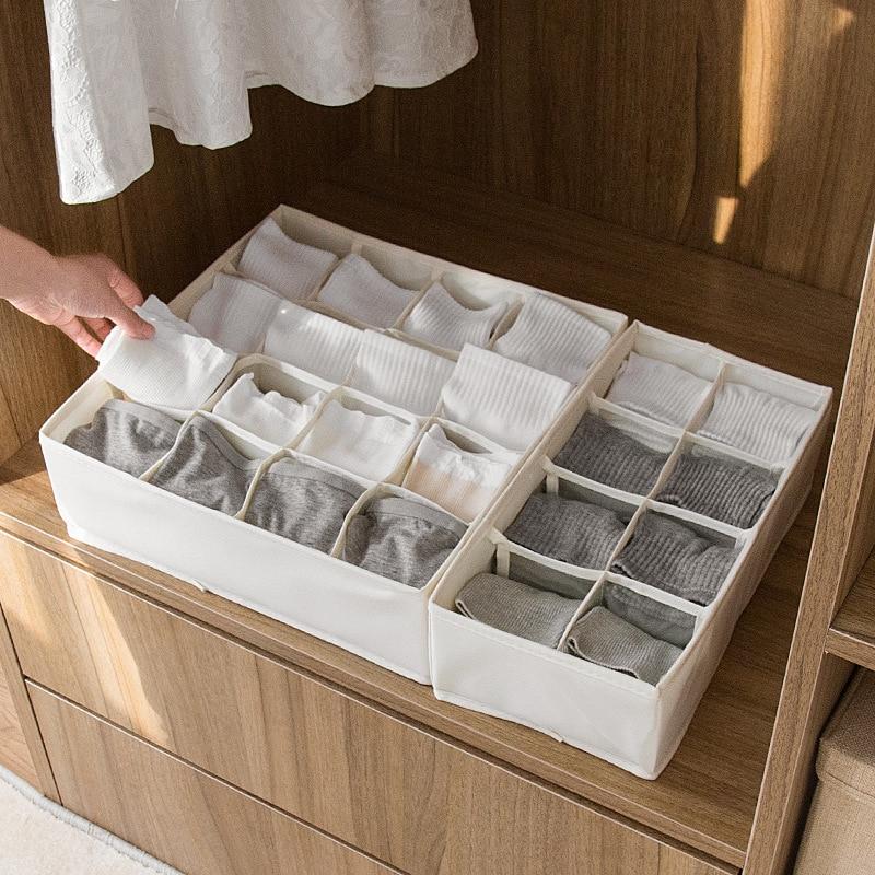 1pc Extra Thickened Underwear Socks Bra Storage Box Folding Wardrobe Closet Organizer Fabric Drawer Divider 2018 New Wholesale