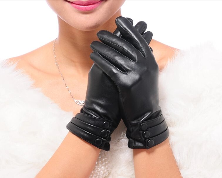 Women REAL Leather smart phone Gloves Bls