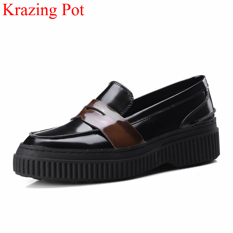 2018 New Arrivel Genuine Leather Slip on Platform Shoes Women Pumps Mixed Colors High Heels Round Toe Elegant Casual Shoes L26 nayiduyun women casual shoes low top platform wedge high heels boots round toe slip on pumps punk chic shoes black white sneaker