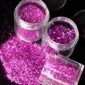 UV da arte do prego brilho poeira brilho roxo lantejoulas pó do Pentágono 3 tamanhos para escolher