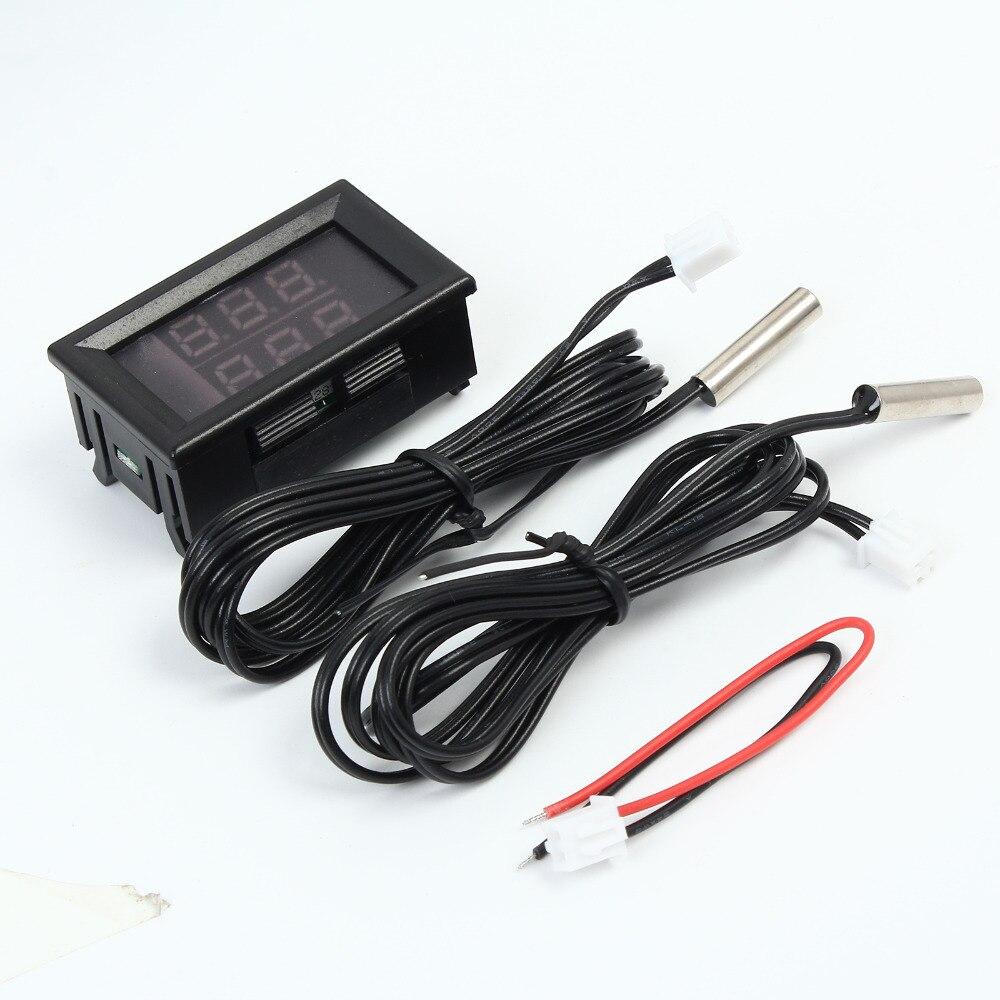 Red Blue Dual Digit LED Display Thermometer Temperature Meter Tester NTC Waterproof Metal Probe Sensor 20