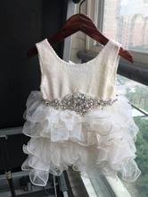 2016 Été Nouvelle Fille Princesse Robe Paillettes Couche Robe Parti Robe Robe Avec Ceinture Enfants Vêtements 2-7 T 16903