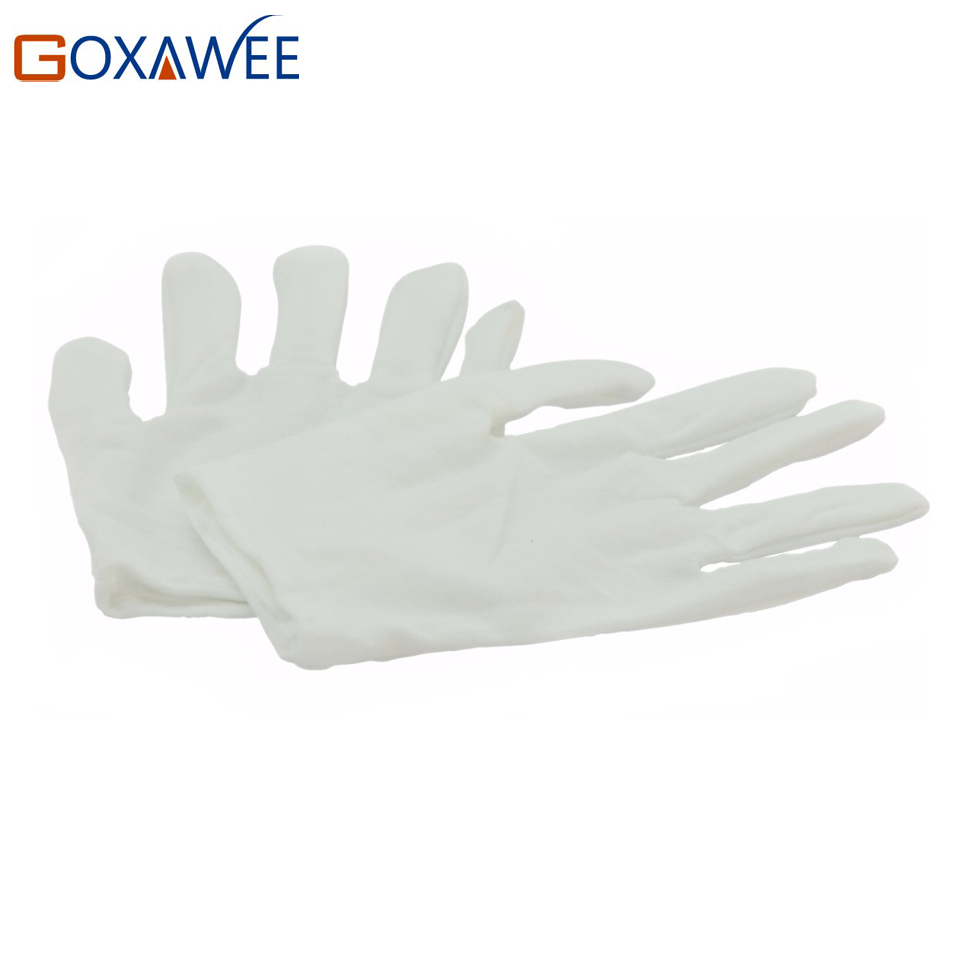 10 Pairs Canvas Finger Protectors Garden Gloves Safety White Gloves Industry Household Gardening Work Glove Finger Guard Size M unisex slim household washing clean pvc glove pink white size s pair