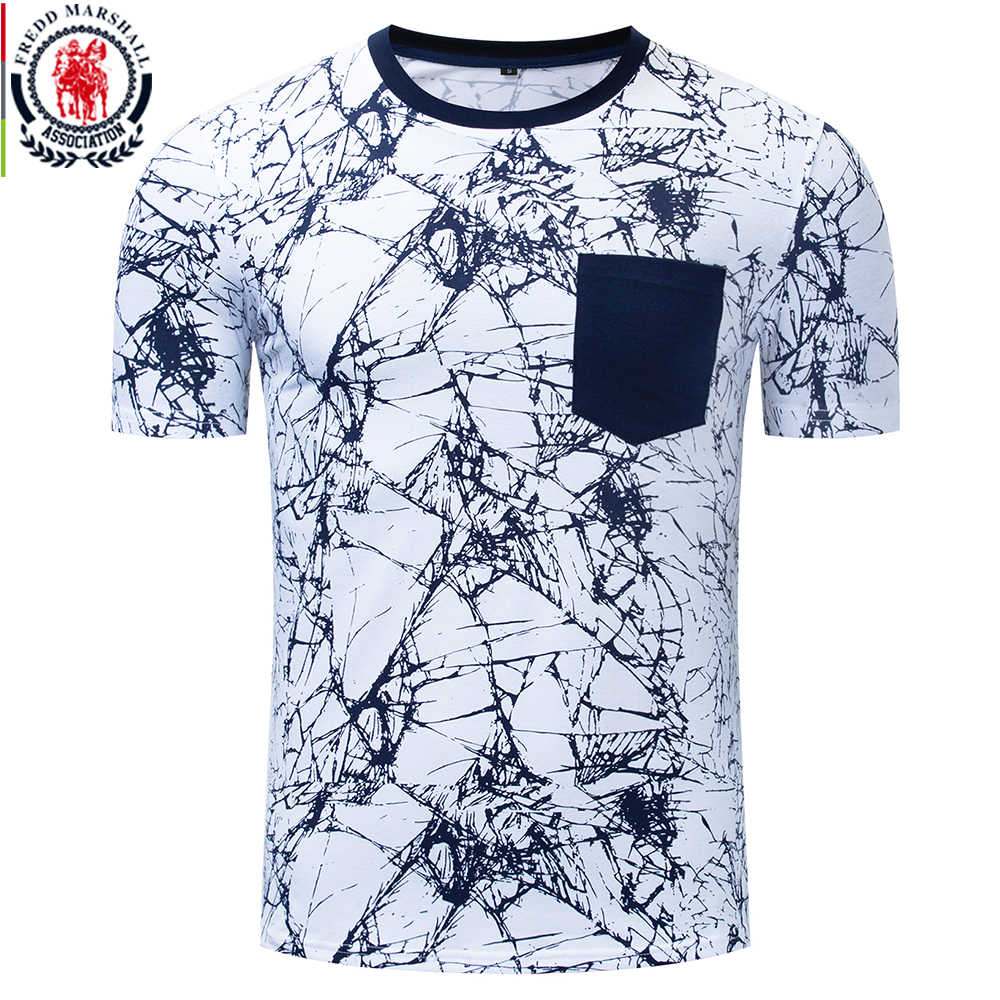 Fredd Marshall 2019 Summer New Fashion Print T Shirt Men 100% Cotton Tshirt With Pocket Casual Short Sleeve Tee Shirt Homme 335