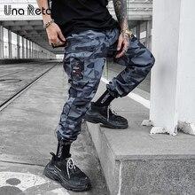 Una Reta הסוואה איש מכנסיים חדש אופנה Streetwear רצים מכנסיים מקרית ארוך מכנסיים גברים היפ הופ אלסטי מותניים מכנסיים מטען