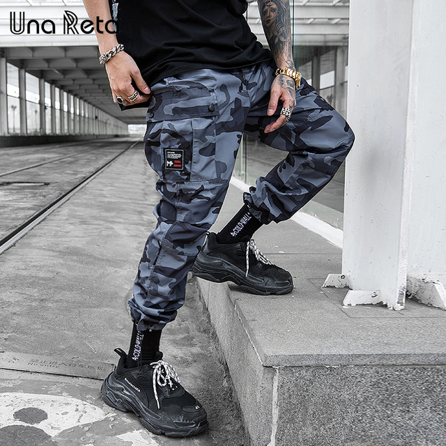 Una Reta pantalon de Camouflage pour homme, tenue Cargo, Streetwear, pantalon Long pour homme, style Hip Hop, taille élastique, collection décontracté