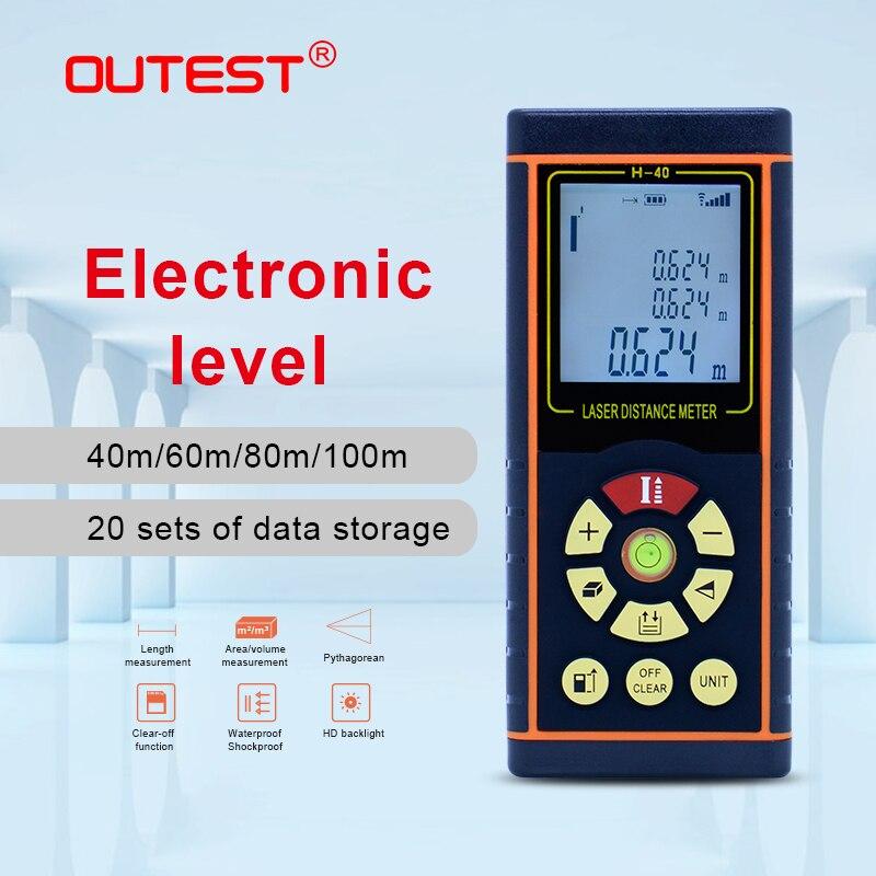 OUTEST Digital Laser Distance Meter 40M/60M/80M/100M Laser Rangefinder Laser Roulette Ruler Trena Tape With Electronic Level