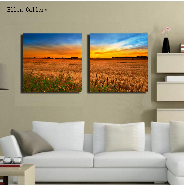 2Pcs/Set Golden Wheat Fields art Canvas Painting Wall Pictures For Living Room Picture Fresh Home Decor Cuadros Cuadro No Frame