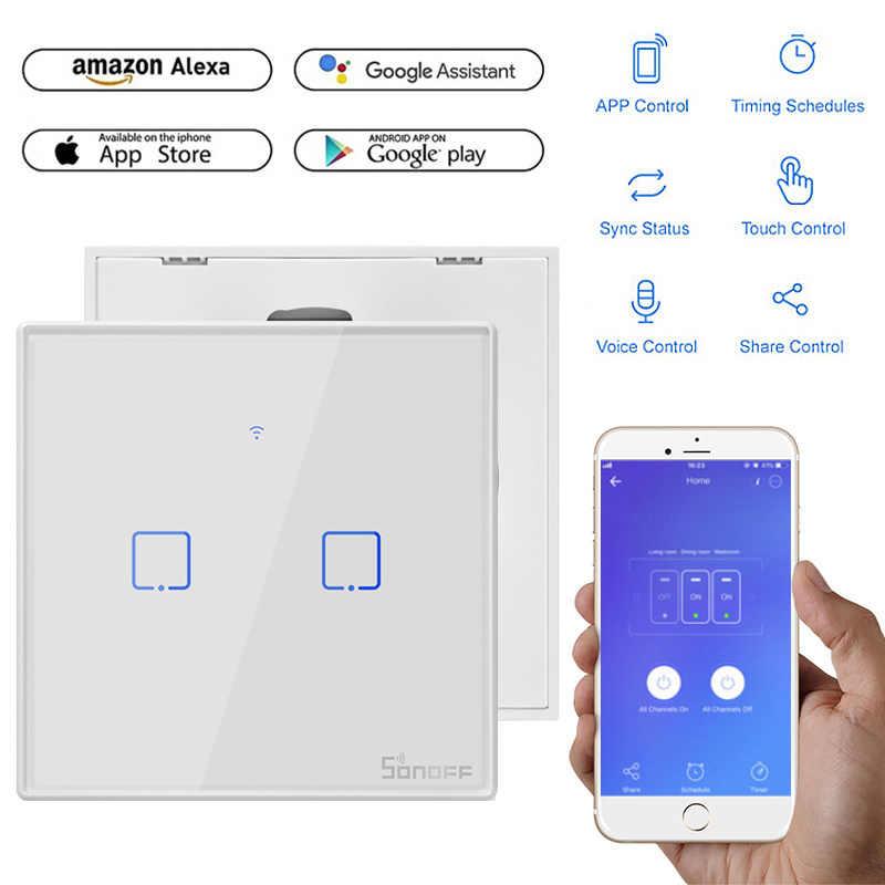 SONOFF T2 z granicy inteligentny Wifi dotykowy przełącznika światła na ścianie przełącznik usa/UK/ue TX 433 RF/głos /kontrola APP podstawowe z Alexa Google domu