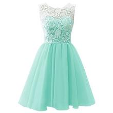 New 3-14Y Summer Mint Green Party Evening Dresses Kids Dresses for Girls Sleeveless Mesh Lace Dress Children Vestidos Mujer D25
